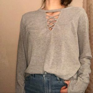Rags to riches gray sweater